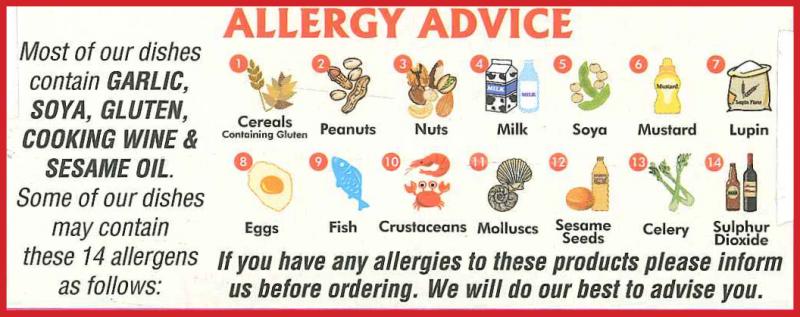 New Thai Spice Worthing Allergy Advice